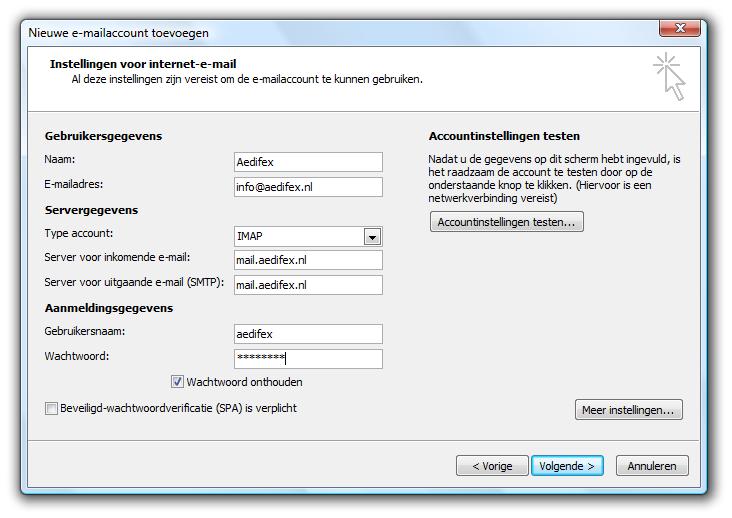 Microsoft Outlook 2007 - Dialoogvenster 'Nieuwe e-mailaccount toevoegen