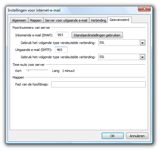 Microsoft Outlook 2007 - Dialoogvenster 'Instellingen voor internet-e-mail